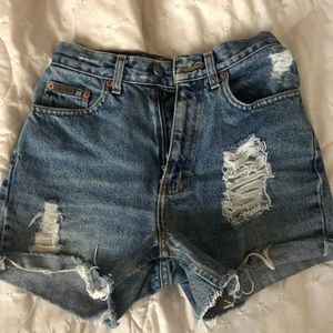 Calvin Klein vintage distressed jean shorts
